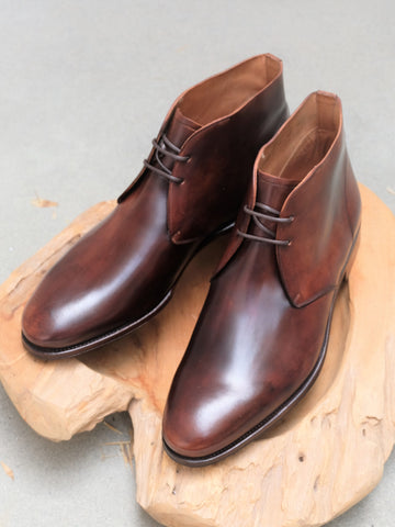 Carmina Shoemaker Unlined Chukka in Burnished Armagnac Shell Cordovan