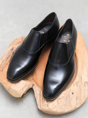 Carmina Shoemaker Imitation Oxford (Lazyman) in Black Calf