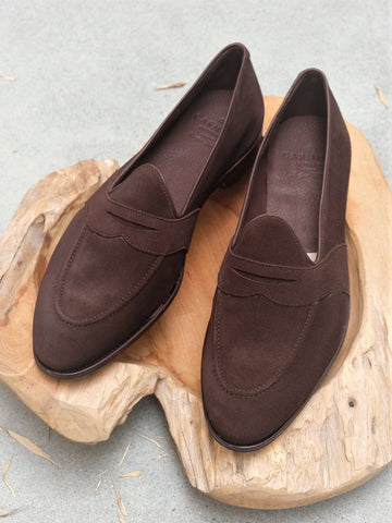 Carmina Shoemaker Unlined Full Strap Penny Loafer in Chocolate Suede