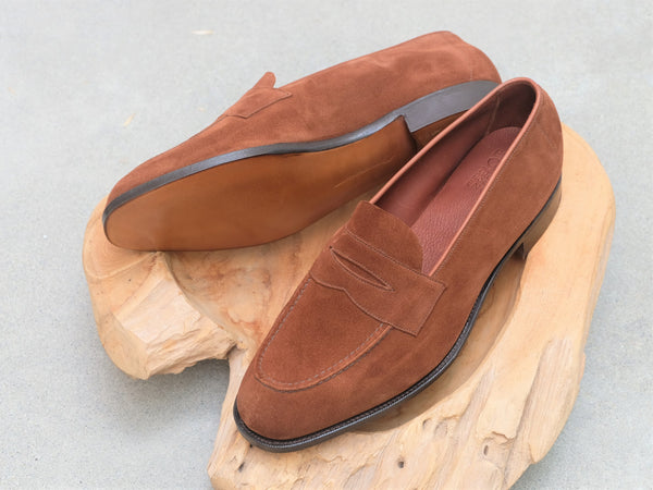 Edward Green Harrow Unlined Loafer in Snuff Suede
