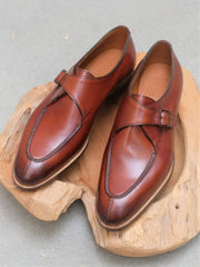 Edward Green Clapham Split Toe Single Monkstrap in Redwood Calf