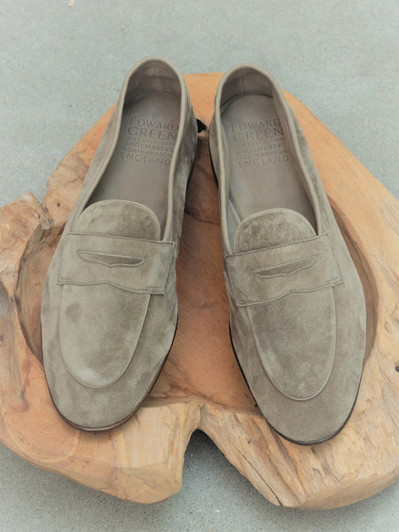Edward Green Polperro Unlined Loafer in Sage Suede