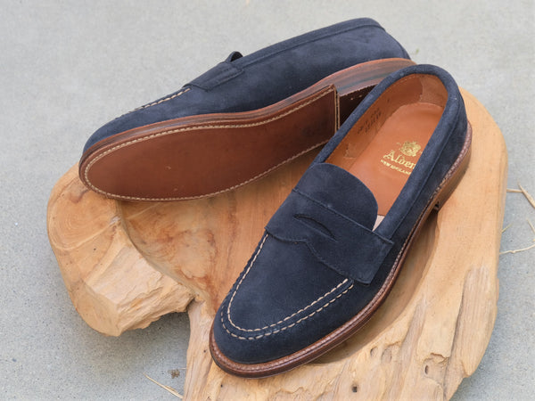 Alden Unlined Leisure Handsewn (LHS) Penny Loafer in Navy Suede