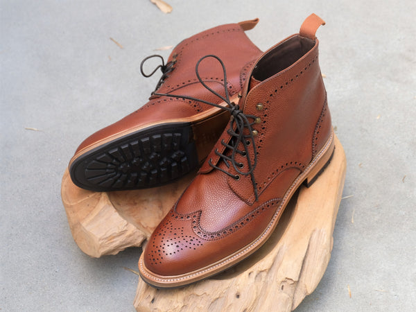 Carmina Shoemaker Wingtip Boots in Chestnut Scotchgrain