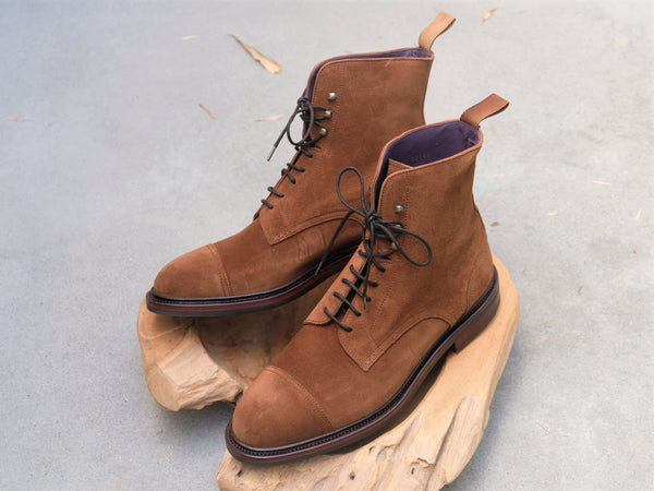Carmina Shoemaker Jumper Boots in Snuff Suede
