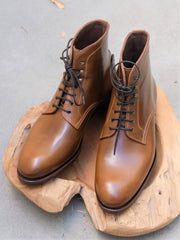 Carmina Shoemaker Plain Toe Boots in Bourbon Shell Cordovan