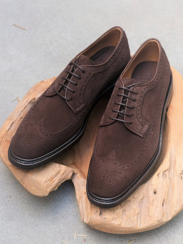 Carmina Shoemaker Longwing Blucher in Chocolate Suede