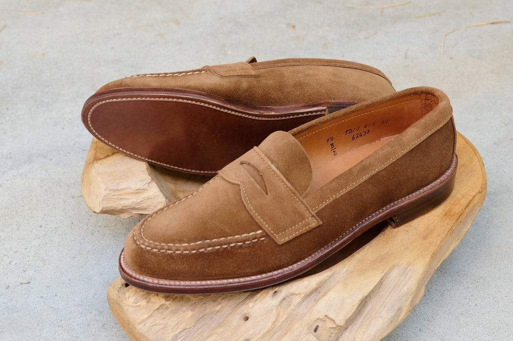 9603b81b3bf Alden Unlined Leisure Handsewn (LHS) Penny Loafer in Snuff Suede ...