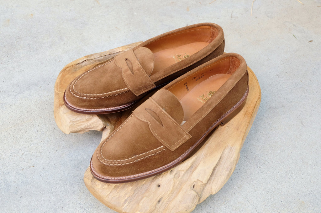 abbd874a329 ... Alden Unlined Leisure Handsewn (LHS) Penny Loafer in Snuff Suede ...
