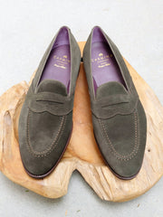 Carmina Shoemaker Full Strap Penny Loafer in Loden Suede