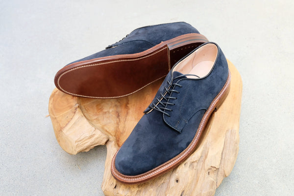 Alden Unlined Plain Toe Blucher Flex Welt 'Dover' in Navy Suede