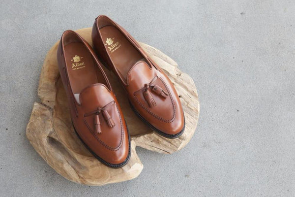 Alden Tassel Loafer in Burnished Tan Calf