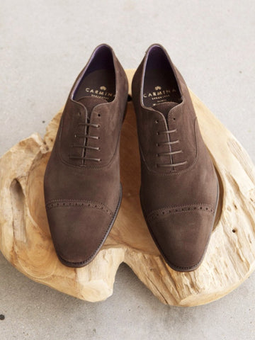 Carmina Shoemaker Quarter Brogue in Chocolate Suede