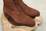 Carmina Shoemaker Unlined Shaft Quarter Brogue Derby Boots in Polo Suede
