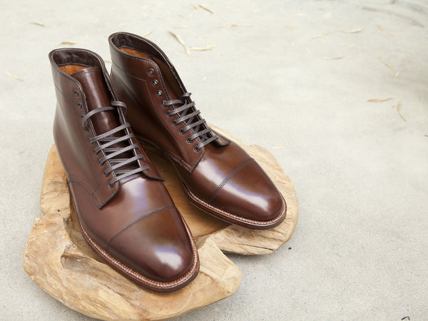 Alden Cap Toe Plaza Boots in Brown Calf