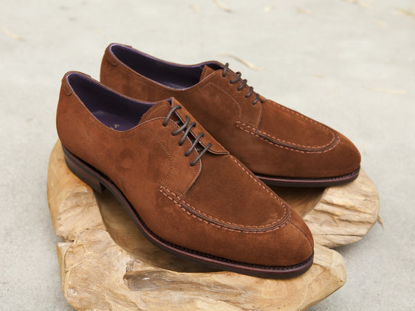 Carmina Shoemaker Split Toe Derby in Polo Suede