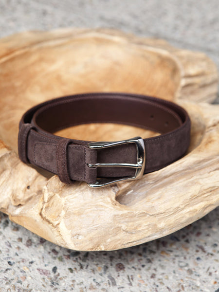 Carmina Shoemaker Belt in Chocolate Suede