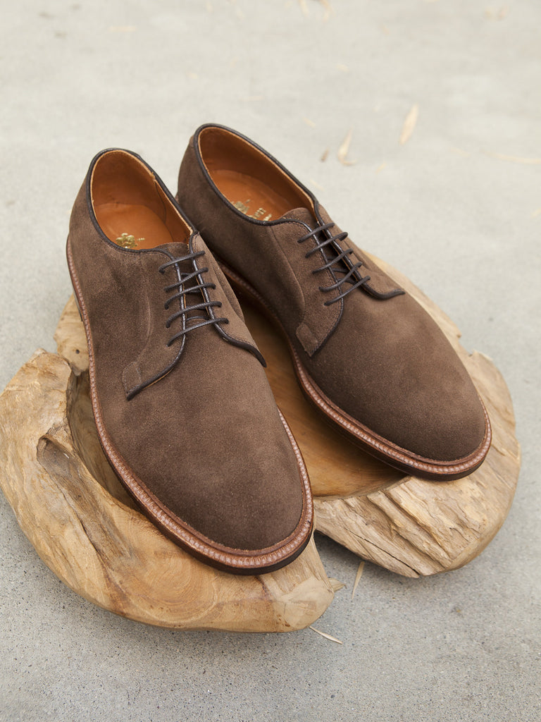 Alden plain toe blucher ptb in brown suede gentlemens for The alden