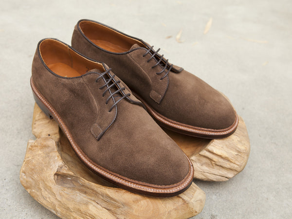 Alden Plain Toe Blucher (PTB) in Brown Suede