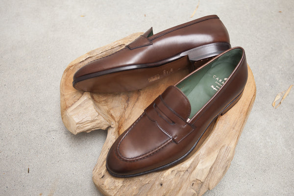 Carmina Shoemaker Penny Loafer in Brown Calf