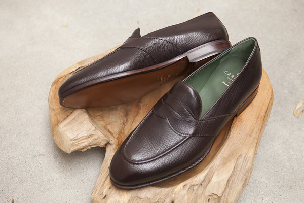 Carmina Shoemaker Full Strap Penny Loafer in Dark Brown Lama Calf