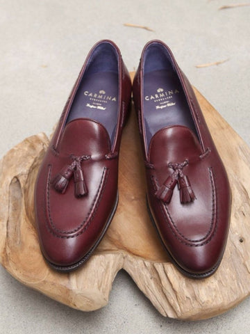 Carmina Shoemaker Braided Tassel Loafer in Burgundy
