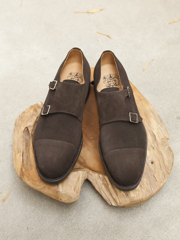 Bow-Tie Shoes Holmes Double Monkstrap in Chocolate Suede