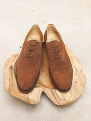 Bow-Tie Shoes Allen Captoe Oxford in Snuff Suede