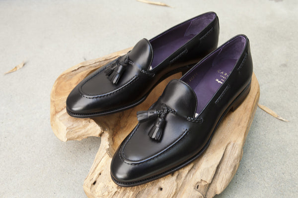 Carmina Shoemaker Braided Tassel Loafer in Black Calf