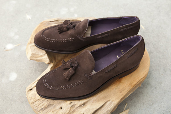 Carmina Shoemaker Braided Tassel Loafer in Chocolate Suede