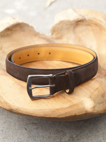 Edward Green Belt in Mink Suede
