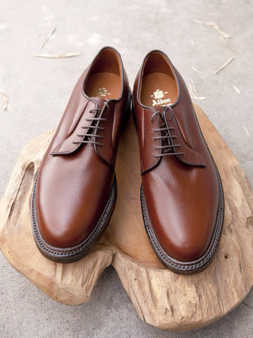 Alden Plain Toe Blucher (PTB) in Brown Alpine Grain Calf