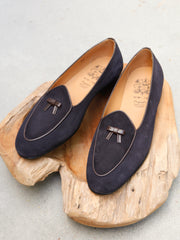 Bow-Tie Shoes Henry Slippers in Navy Suede