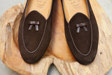 Bow-Tie Shoes Henry Slippers in Brown Suede