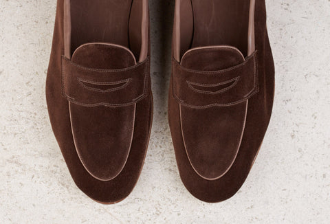 Edward Green Polperro Unlined Loafer in Brown Pepper Suede