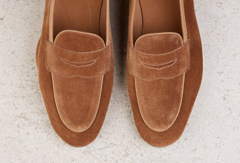 Edward Green Polperro Unlined Loafer in Mace Suede