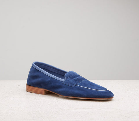 Edward Green Polperro Unlined Loafer in Navy Suede