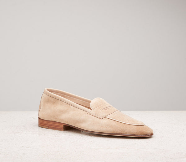 Edward Green Polperro Unlined Loafer in Sand Suede