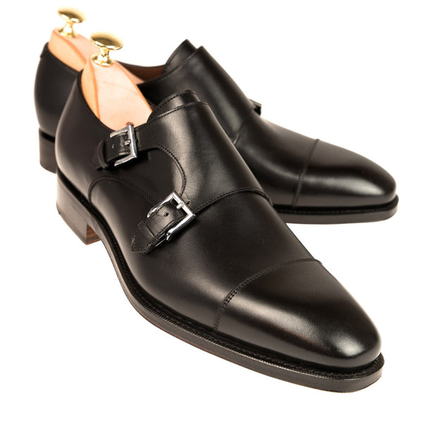 Carmina Shoemaker Double Monkstrap in Black Calf