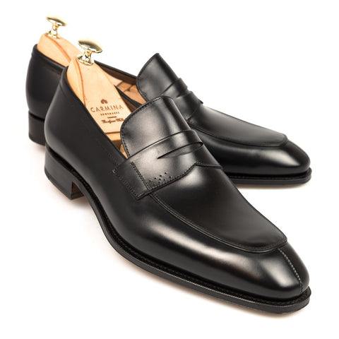 Carmina Shoemaker Penny Loafer in Black Calf