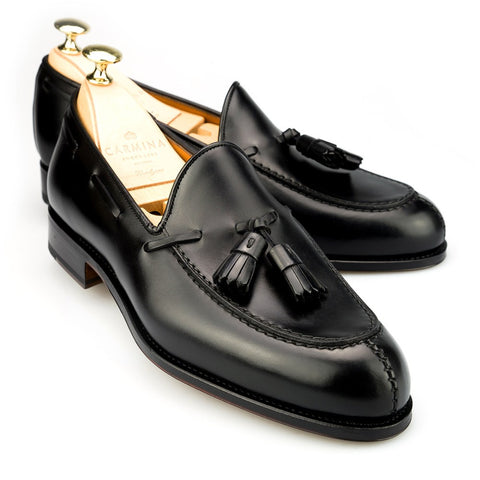 Carmina Shoemaker Tassel Loafer in Black Calf