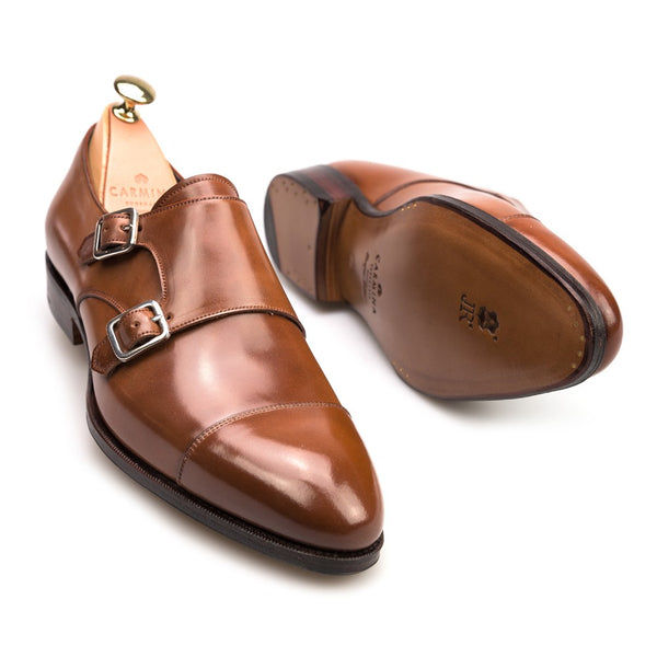 Carmina Shoemaker Double Monkstrap in Bourbon Cordovan