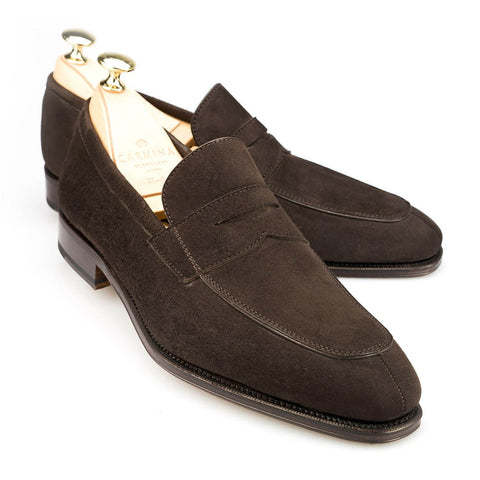 Carmina Shoemaker Penny Loafer in Chocolate Suede