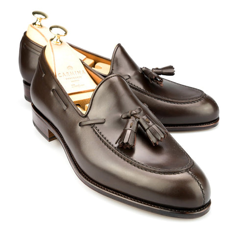 Carmina Shoemaker Tassel Loafer in Dark Brown Calf