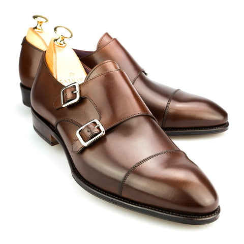 Carmina Shoemaker Double Monkstrap in Brown Calf