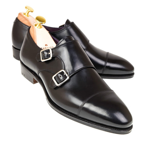 Carmina Shoemaker Double Monkstrap in Black Shell Cordovan