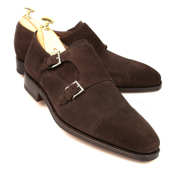 Carmina Shoemaker Double Monkstrap in Chocolate Suede