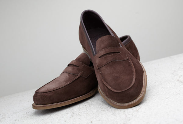Edward Green Unlined Duke Loafer in Mink Suede