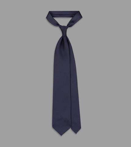Drake's Navy 50oz Royal Twill Printed Silk Tie