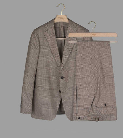 Drake's Brown Glen Check Linen Suit